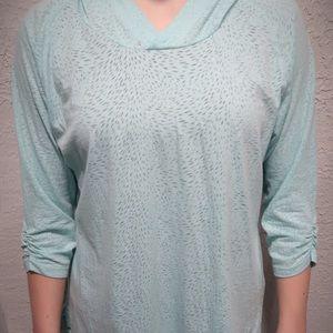 Light blue hooded shirt